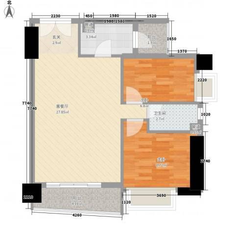 亿海湾2室1厅1卫1厨82.00㎡户型图
