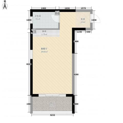 博辉戴河国际酒店式公寓1厅1卫0厨56.00㎡户型图
