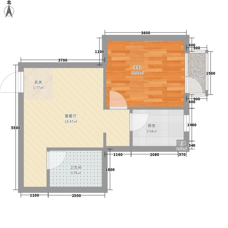 亿海阳光1室1厅1卫1厨51.00㎡户型图