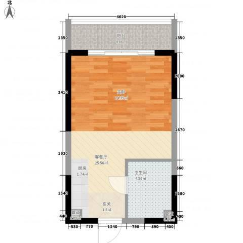 博辉戴河国际酒店式公寓1厅1卫0厨50.00㎡户型图