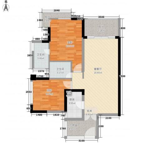 三亚・山水国际2室1厅2卫1厨93.00㎡户型图