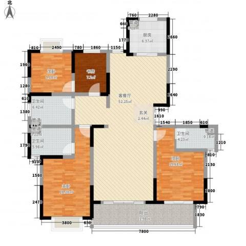 黄山湖公馆4室1厅3卫1厨198.00㎡户型图