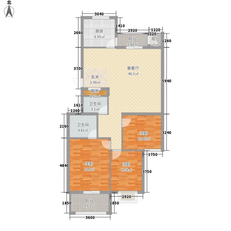 重聚园136.73㎡三期18号楼C户型3室2厅2卫1厨