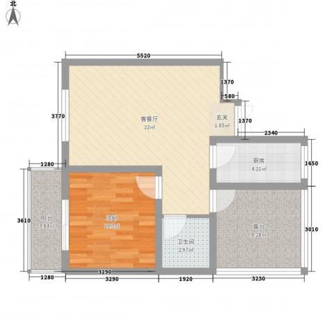 蔺高佳苑1室1厅1卫1厨75.00㎡户型图