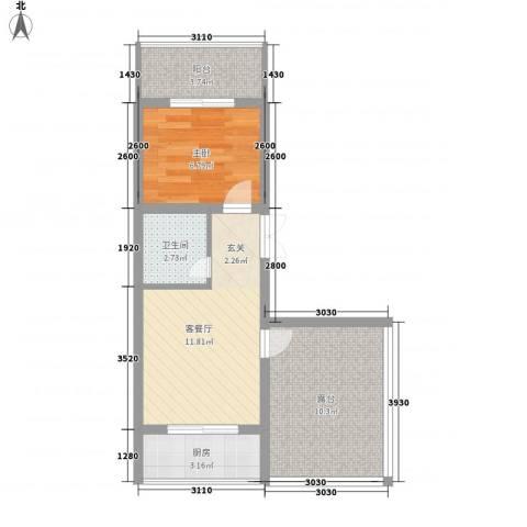 蔺高佳苑1室1厅1卫1厨57.00㎡户型图