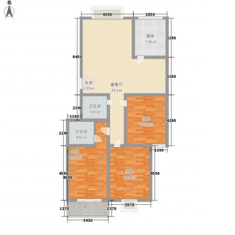 御公馆3室1厅2卫1厨147.00㎡户型图
