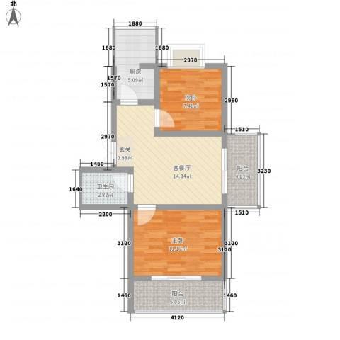 蔺高佳苑2室1厅1卫1厨74.00㎡户型图