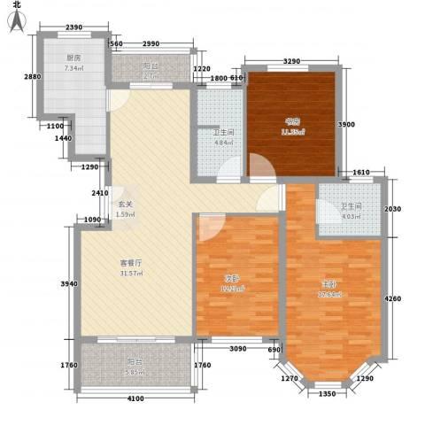 水色时光花园3室1厅2卫1厨136.00㎡户型图