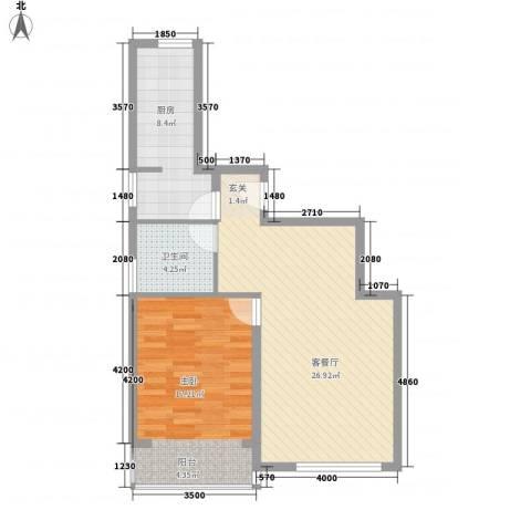 水色时光花园1室1厅1卫1厨56.78㎡户型图
