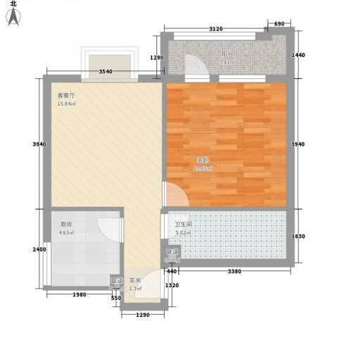 首座绿洲1室1厅1卫1厨62.00㎡户型图