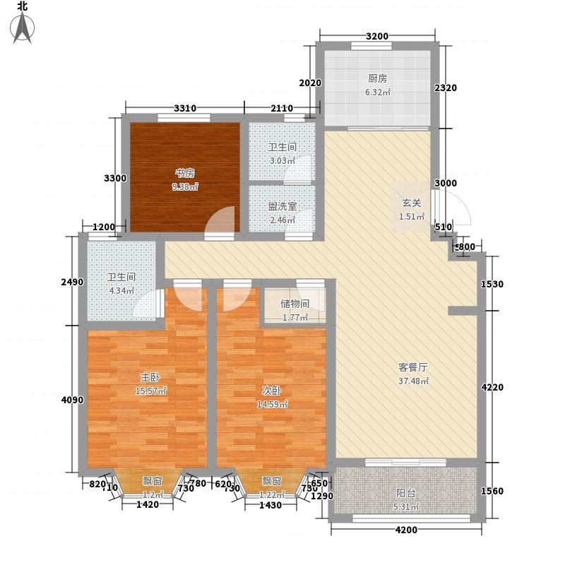 金日紫都124.00㎡15#、17#、18#洋房户型3室2厅2卫1厨