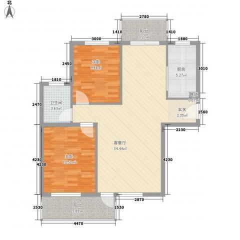 水色时光花园2室1厅1卫1厨105.00㎡户型图