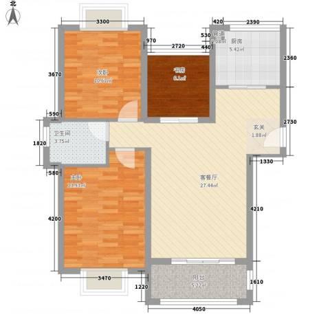 星光银河湾3室1厅1卫1厨72.62㎡户型图