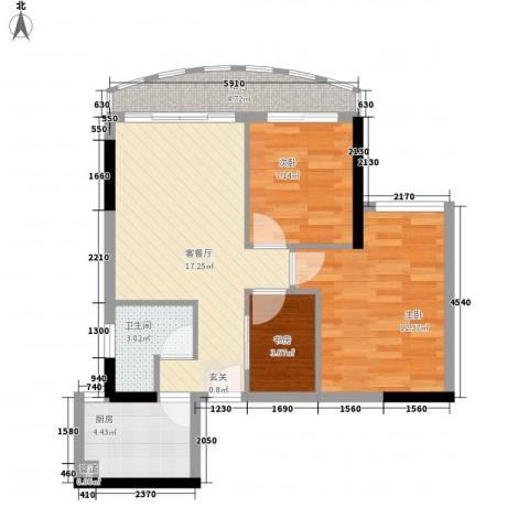 逸景翠园碧桃居3室1厅1卫1厨76.00㎡户型图
