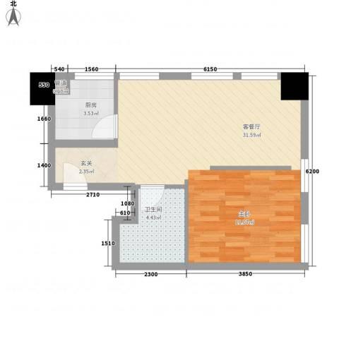 江户汤寓1厅1卫1厨70.00㎡户型图