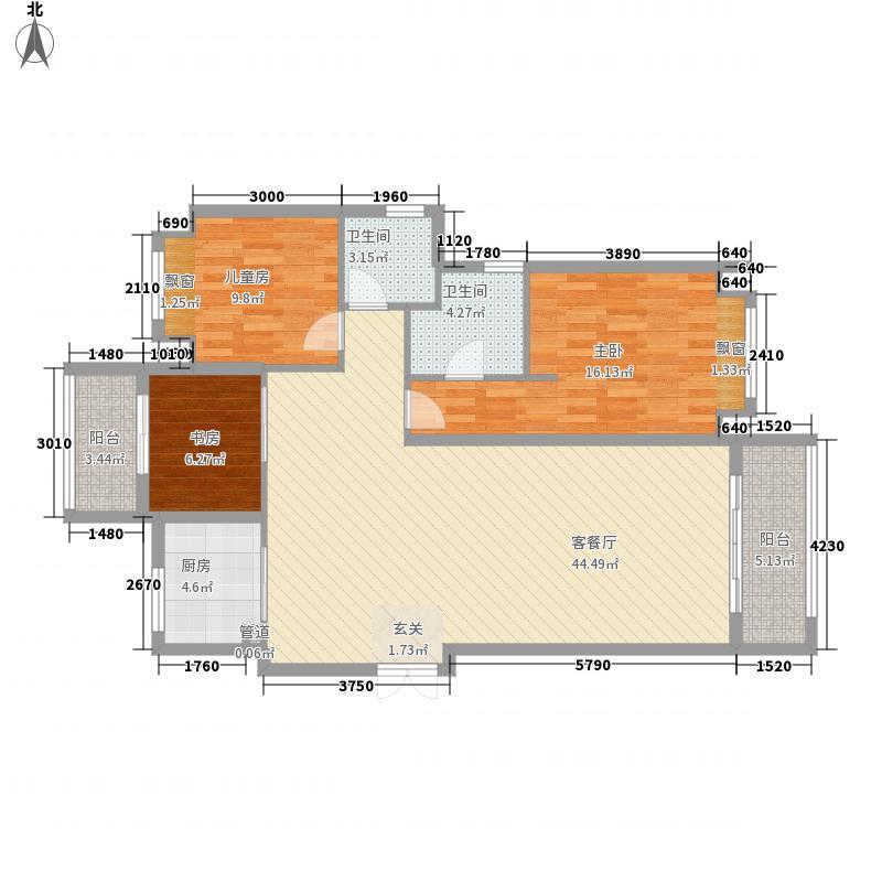 三盛国际海岸・��墅3室1厅2卫1厨97.33㎡户型图