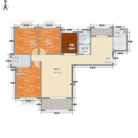 星光银河湾4室2厅2卫1厨134.00㎡户型图