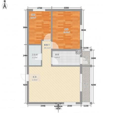 龙昌滨河源2室1厅1卫1厨61.32㎡户型图