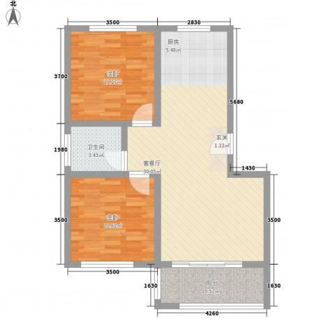 沽河花园二期2室1厅1卫0厨88.00㎡户型图