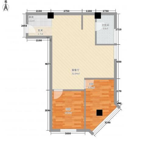 迎泽世纪城2室1厅1卫0厨54.66㎡户型图