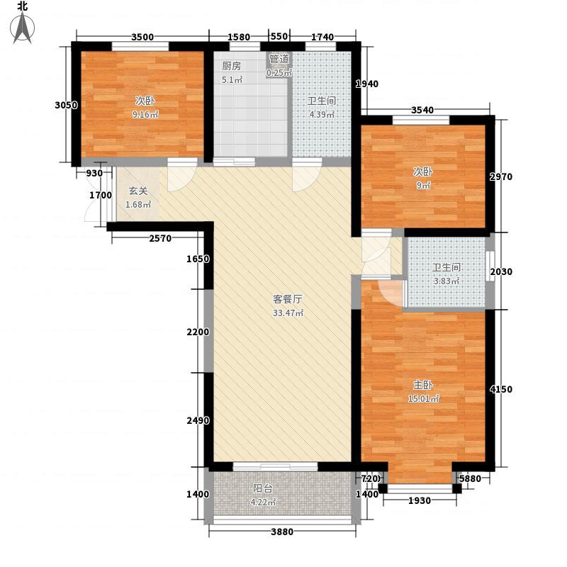 御景龙庭115.00㎡26#-31#楼东西边户I1户型3室2厅2卫1厨
