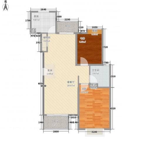 富鹏通园路小区2室1厅1卫1厨133.00㎡户型图