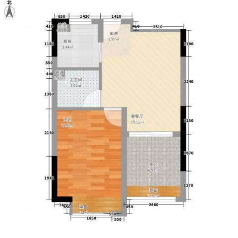 融绿理想湾1室1厅1卫1厨60.00㎡户型图