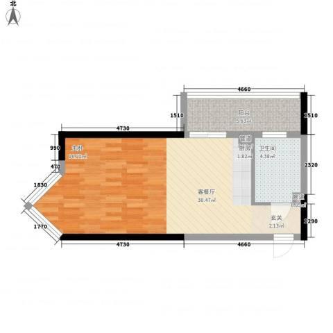 博辉戴河国际酒店式公寓1厅1卫0厨58.00㎡户型图
