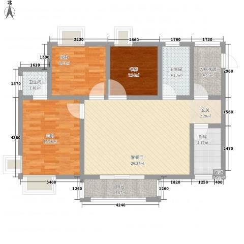 东方丽都3室1厅2卫1厨107.00㎡户型图