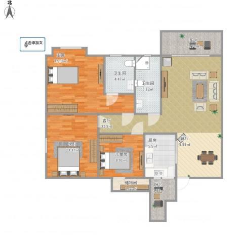 清华园3室1厅2卫1厨132.00㎡户型图