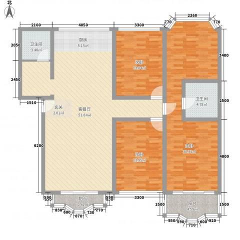 华雅花园3室1厅2卫0厨176.00㎡户型图