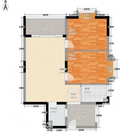 日东明珠2室1厅1卫1厨106.00㎡户型图