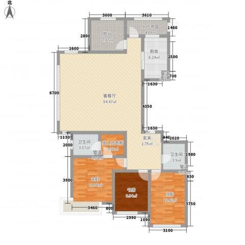 潮白河孔雀英国宫3室1厅2卫1厨133.77㎡户型图