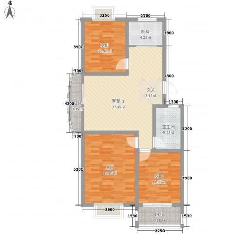 腾骐骏安3室1厅1卫1厨84.05㎡户型图