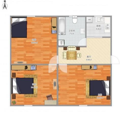 景峰苑-311-813室1厅1卫1厨81.00㎡户型图
