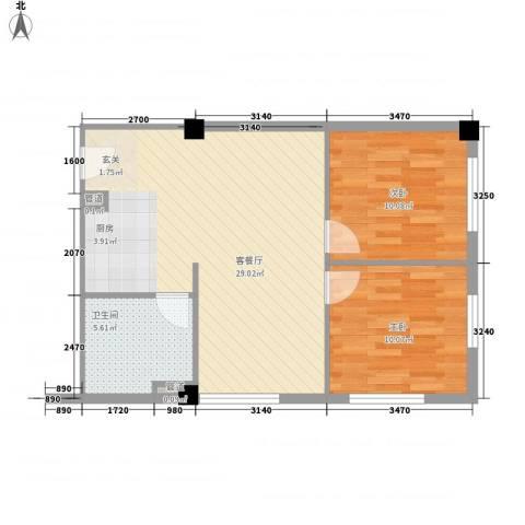 东方新天地大厦2室1厅1卫0厨82.00㎡户型图