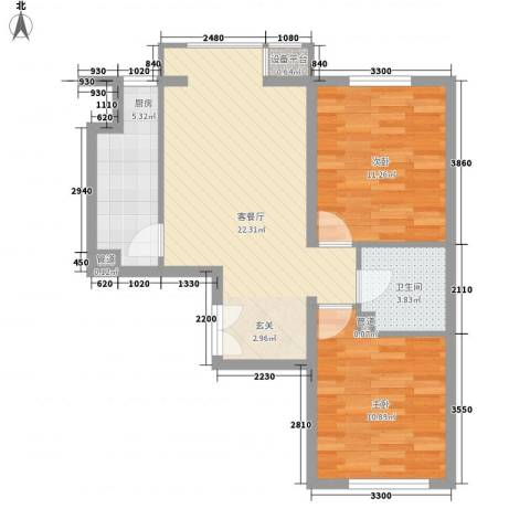 天星锦苑2室1厅1卫1厨78.00㎡户型图