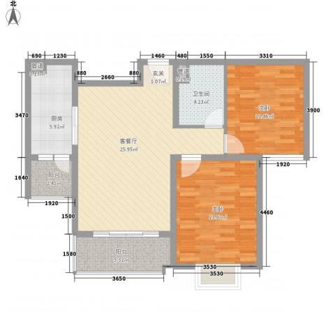 观府2室1厅1卫1厨102.00㎡户型图
