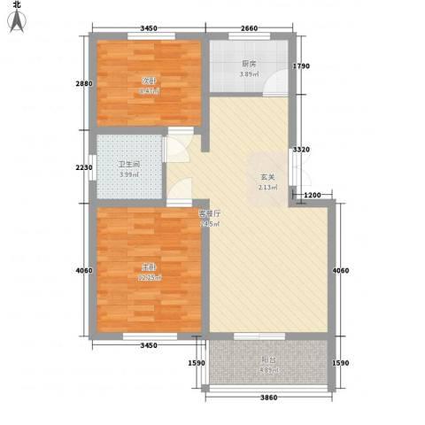 合丰苑2室1厅1卫1厨67.00㎡户型图