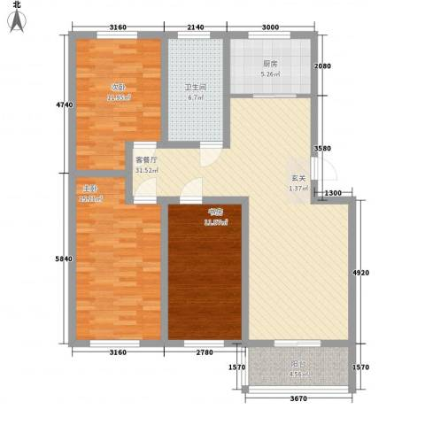 合丰苑3室1厅1卫1厨100.00㎡户型图