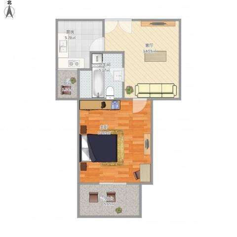 嘉利明珠城-111-551室1厅1卫1厨69.00㎡户型图