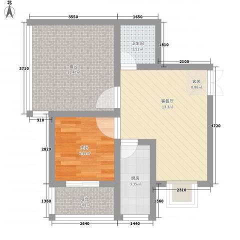 蔺高佳苑1室1厅1卫1厨58.00㎡户型图