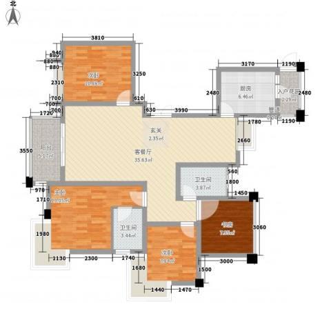 新港天之运4室1厅2卫1厨139.00㎡户型图