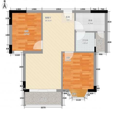 新港名城花园2室1厅1卫1厨72.00㎡户型图