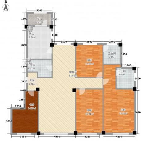 米兰D.C4室1厅3卫1厨166.72㎡户型图