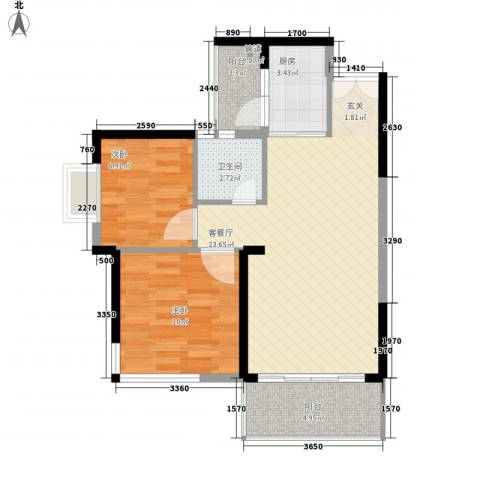 纳威人的幸福2室1厅1卫1厨67.00㎡户型图