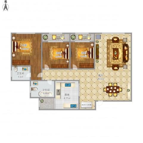 临江佳园20043室1厅2卫1厨138.00㎡户型图