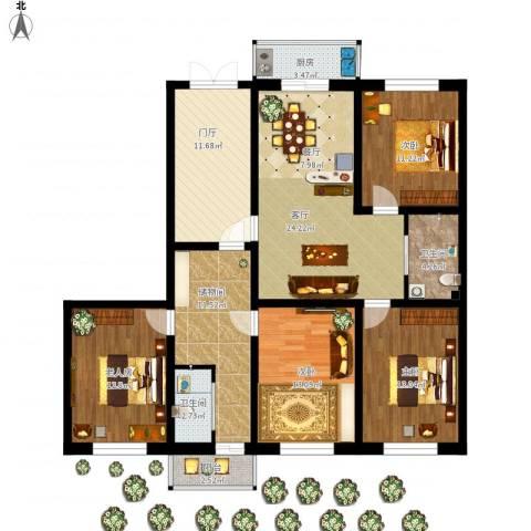 l龙盛家园4室1厅2卫1厨161.00㎡户型图