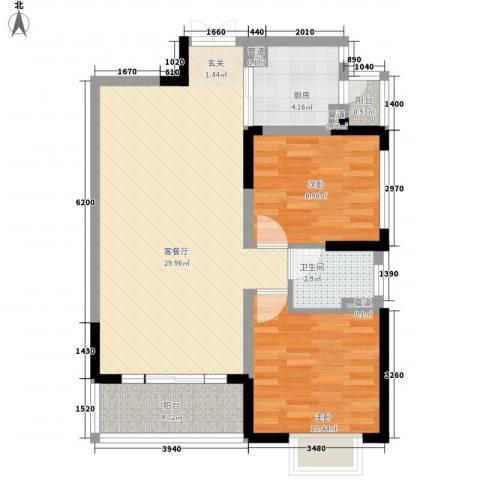 恒基水漾花城2室1厅1卫1厨90.00㎡户型图
