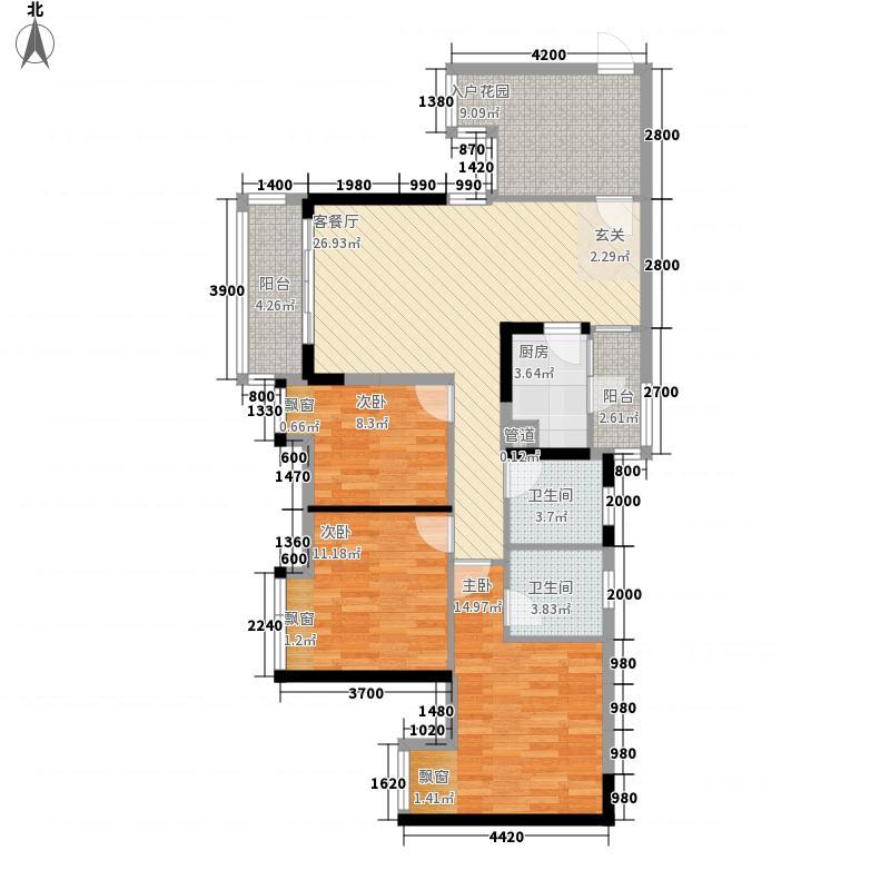 清凤时代城一期1号楼标准层G户型3室2厅2卫1厨